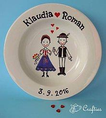 Nádoby - Svadobný tanier - ľudový motív - 7275196_