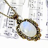 Náhrdelníky - Vintage Moonstone & Ornaments / Výrazný náhrdelník s pravým mesačným kameňom - adulárom - 7275596_