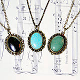Náhrdelníky - Bronze Gemstone Vintage Necklaces IV. / Náhrdelníky s minerálmi vo vintage štýle - 7277833_
