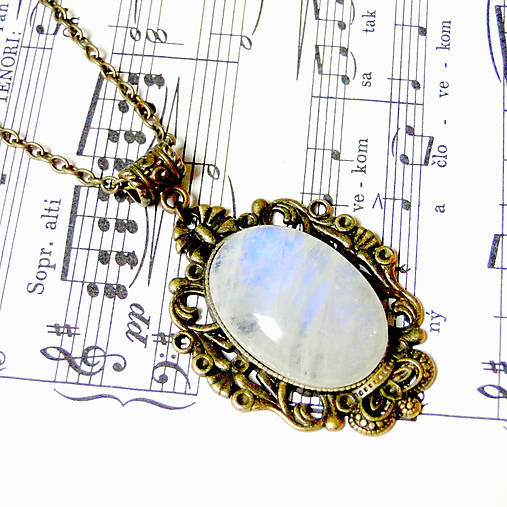 Vintage Moonstone & Ornaments / Výrazný náhrdelník s pravým mesačným kameňom - adulárom