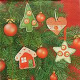 Papier - S854 - Servítky - guľa, domček, stromček, hviezda, filc, šitie - 7276529_