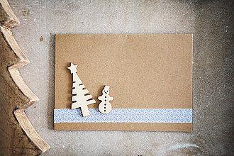 Papiernictvo - Vianočná pohľadnica - snehuliak - 7277291_