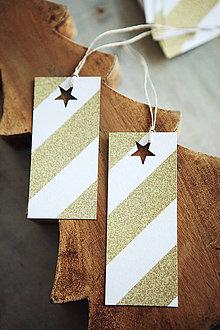 Papiernictvo - Zlaté menovky na vianočné darčeky - 7277319_