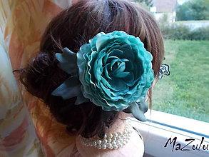 Ozdoby do vlasov - olivovozelená spona&brošňa - 7279563_