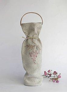 Iné tašky - Elegantná a ekologická ľanová taška na víno s koženým držiakom - 7275465_