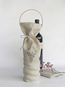 Iné tašky - Elegantná a ekologická darčeková taška na víno z francúzskeho ľanu - 7275473_