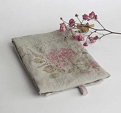 Úžitkový textil - Ľanová utierka s ručnou potlačou ruží - 7275600_