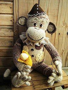 Hračky - Pletená opička s banánom - 7279568_