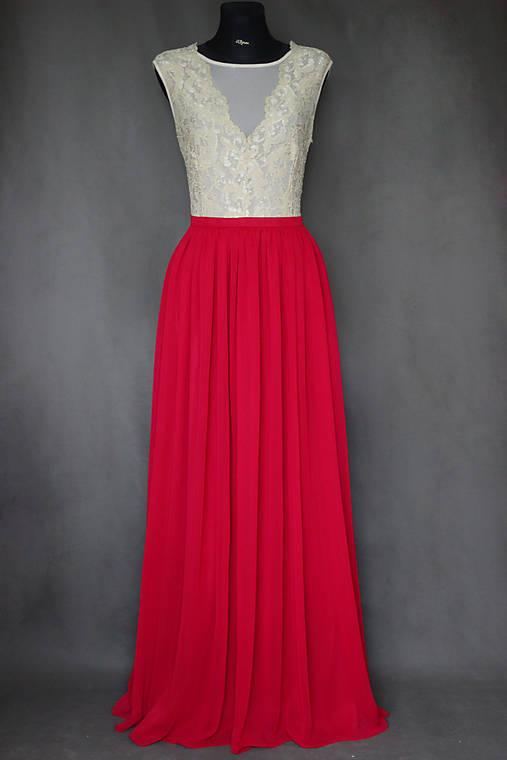 Spoločenské šaty s elastickým živôtikom a šifónovou sukňou rôzne farby 2a5f39310f3