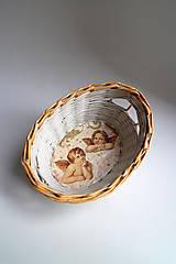Košíky - Košík papierový - Anjelici | malý biely - 7277998_