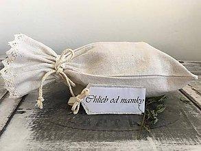 Úžitkový textil - Ľanové vrecúško z ručne tkaného ľanu s meniteľnými menovkami OD MAMKY - 7279597_