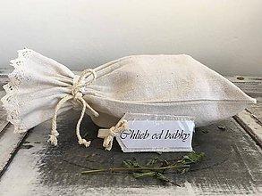 Úžitkový textil - Ľanové vrecúško z ručne tkaného ľanu s meniteľnými menovkami OD BABKY - 7279617_