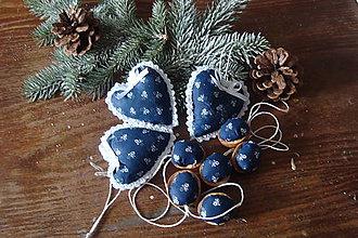 Dekorácie - Vianočné ozdôbky folk  sada z modrotlače... - 7276273_