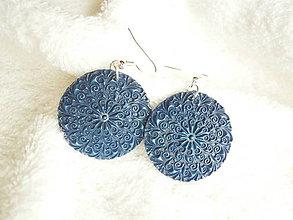 Náušnice - Náušnice z polyméru, modrý ornament - 7276310_