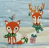 Papier - S857 - Servítky - líška, vtáčik, sneh, vianoce, jeleň, šál, zima - 7283365_