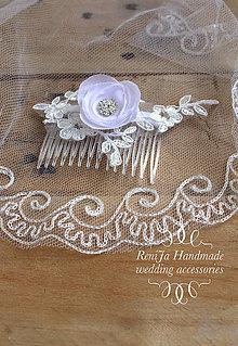 Ozdoby do vlasov - Svadobný hrebienok Biela Neha - 7281474_