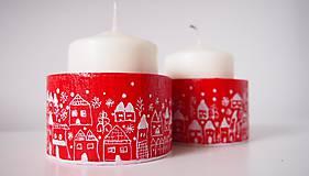 Svietidlá a sviečky - Drevené svietniky - dedinka v bielom - 7282778_