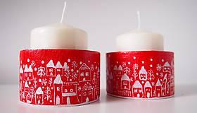 Svietidlá a sviečky - Drevené svietniky - dedinka v bielom - 7282789_
