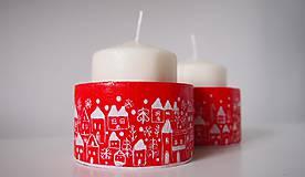 Svietidlá a sviečky - Drevené svietniky - dedinka v bielom - 7282791_