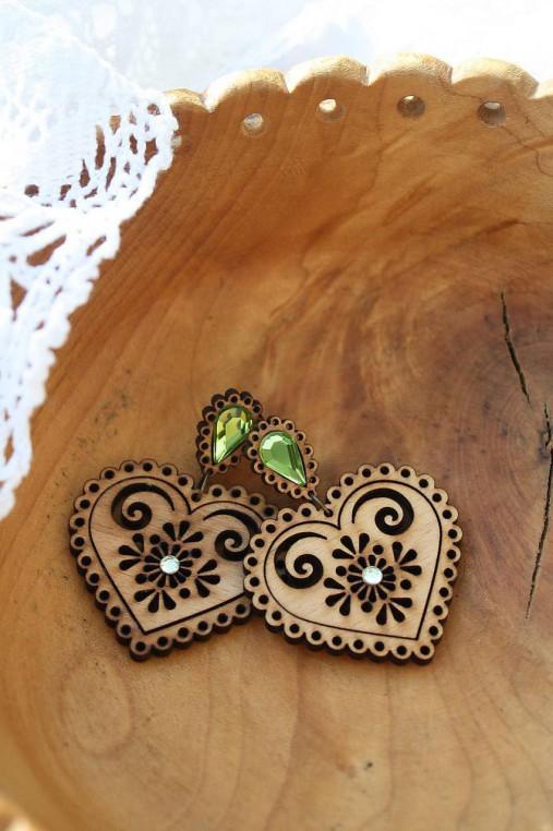 Náušnice - Folk srdce zelené - 7281822_