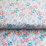 Textil - kvety v modrej, 100 % bavlna, šírka 110 cm, cena za 0,5 m - 7280748_