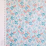 Textil - kvety v modrej, 100 % bavlna, šírka 110 cm, cena za 0,5 m - 7280749_