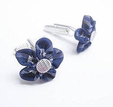 Šperky - Modré škótske káro (tartan) - kockované manžetové gombíky - 7281878_