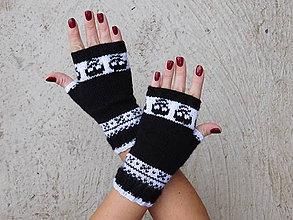 Rukavice - čierne rukavičky s nórskym vzorom - 7281818_