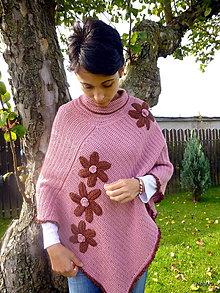 Iné oblečenie - Pončo  Staroružové s hnedými kvetmi - 7281630_