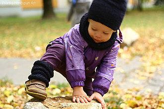 Detské súpravy - pletená čiapka, nákrčník a štucne - 7285163_