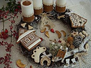 Dekorácie - adventný veniec-Vianoce na dedine - 7285862_