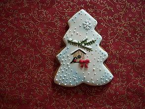Dekorácie - medovníkový stromček-zasnežený - 7286051_