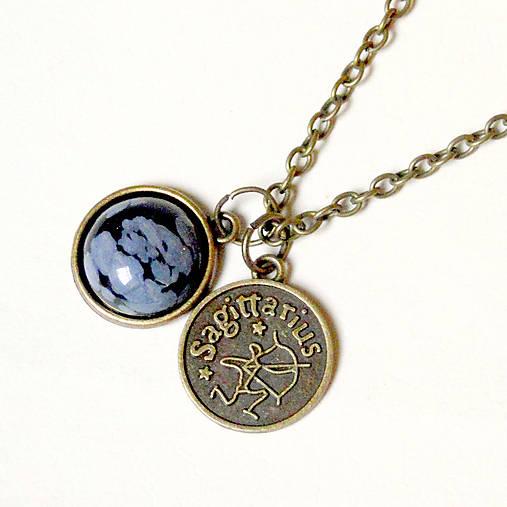Vintage Zodiac Sign & Snowflake Obsidian / Náhrdelník 3v1 so znamením a minerálom