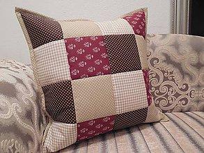 Úžitkový textil - Prehoz, vankúš patchwork vzor béžovo - bordovo - čokoládový ( rôzne varianty veľkostí ) - 7284906_