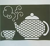 Pomôcky/Nástroje - Šablóna - 20x30 cm - čajník, čaj, tea, tea time, káva, coffee - 7287425_