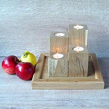 Svietidlá a sviečky - Dubový svietnik 4 ks - 7286338_