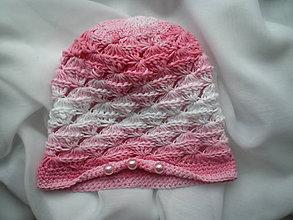 Detské čiapky - Detská  ružovo-biela čiapka - 7285873_