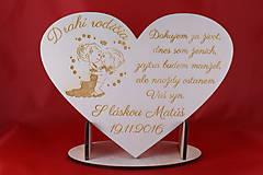 Darčeky pre svadobčanov - Drevene srdiečko ako poďakovanie rodičom 27 - 7286261_