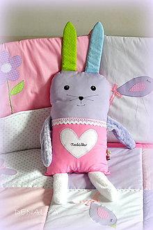 Textil - Zajko tuľko s menom 60cm vysoký kolekcia Pastel - 7288376_