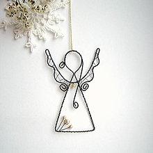 Dekorácie - anjelik s perličkami Vianoce - 7289527_