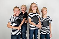 - Detské kreatívne  pásikavé tričko - dkaz vždy čerstvý - alebo tabuľa na tričku - 7290339_