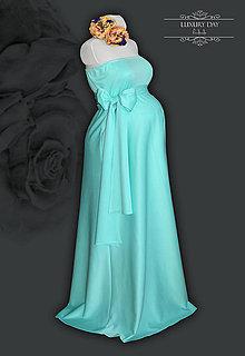 Tehotenské oblečenie - tehotenské šatičky MENTOL - 7288643_