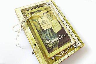 Papiernictvo - Receptár zelený vo vintage štýle - 7289857_