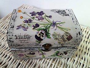 Krabičky - Šperkovnica truhličková - Kytička fialiek - 7289085_