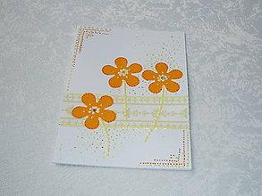 Papiernictvo - Pohľadnica - kvietky oranžové - 7288422_