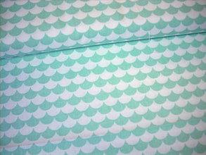 Textil - Bavlnená látka - oblúčiky, vlnky mentolové - 7290626_