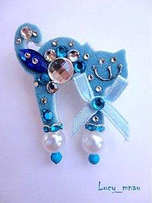 Odznaky/Brošne - Brošnička mačička modro-modrá s mašličkou :) - 7291015_