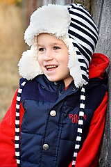 Zimná ušianka pilot navy prúžok & fleece cream