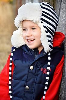 Detské čiapky - Zimná ušianka pilot navy prúžok & fleece cream - 7292403_