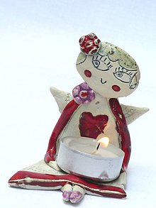 Svietidlá a sviečky - anjel - svietnik sediaci - 7288897_